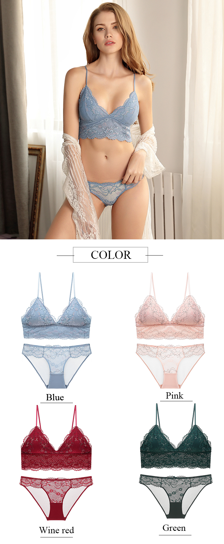 Deep V Thin Bralette Set French Lace Lingerie Female Underwear Set Wire Free Seamless Triangle Bras For Women Bra And Panties