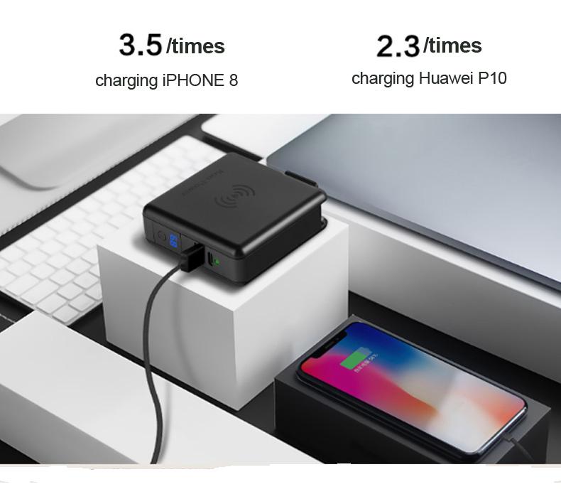 노트북 Qi 휴대용 유형 C pd 충전기 무선 전원 은행 노트북 여행 충전기