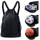 Premium polyester string backpack with ball shoe compartment basketball drawstring bag