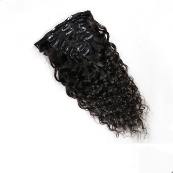 Wholesale price and popular clip in hair extensions short hair brazilian curly weave
