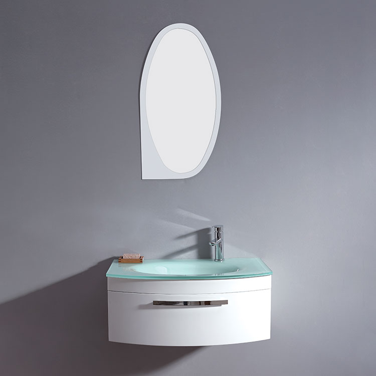 Modern Style New Product High Gloss White Tall Oval Bathroom Mirror Cabinet For Countertop Basin