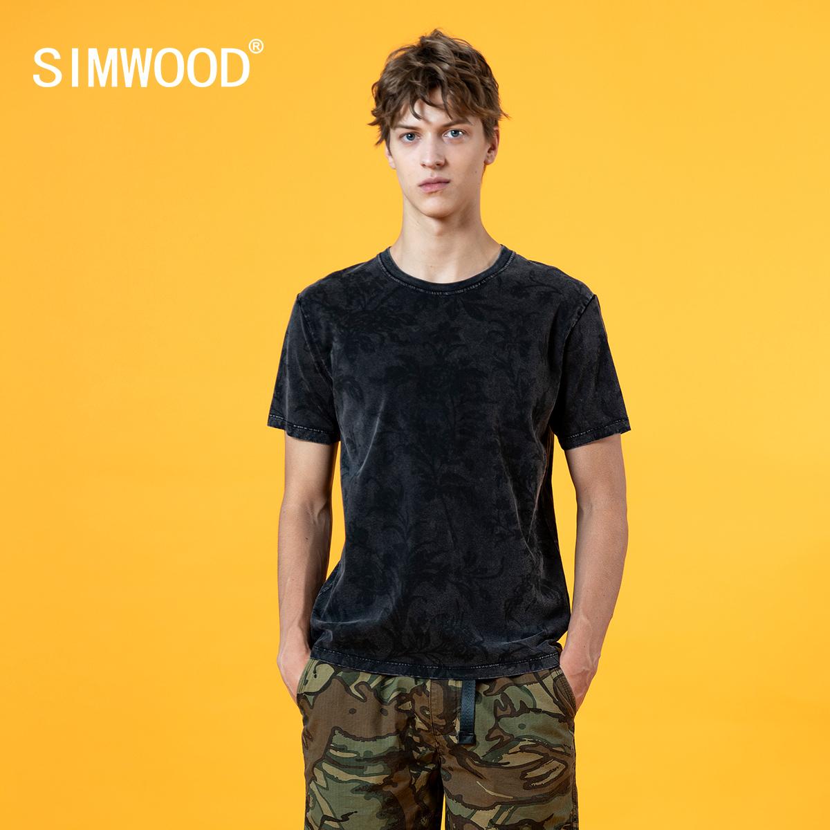 SIMWOOD 2020 summer tie dye t shirts 210g thick vintage t-shirt men snowwash floral print 100% cotton tshirt short sleeve tees