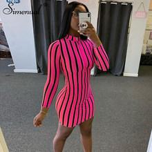 Simenual полосатый молния Bodycon платья Для женщин с длинным рукавом неоновые Цвет модные вечерние Клубные 2020 обтягивающие мини платье тонкий жен...(Китай)