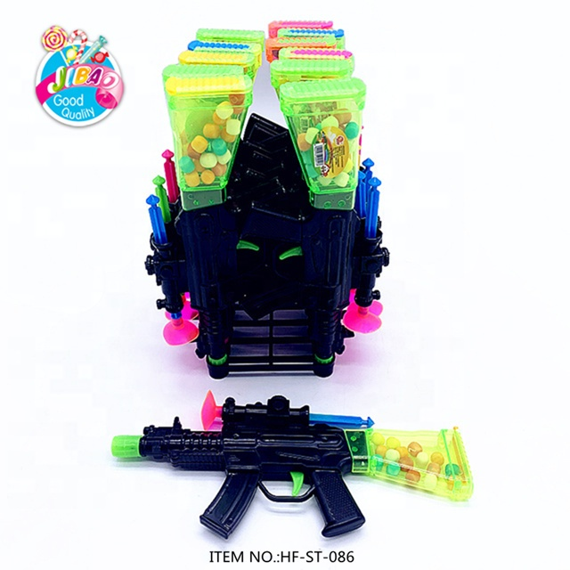 Funny Plastic Material Kids Submachine Gun Toy Candy With Colorful Fruity Press Hard Candy