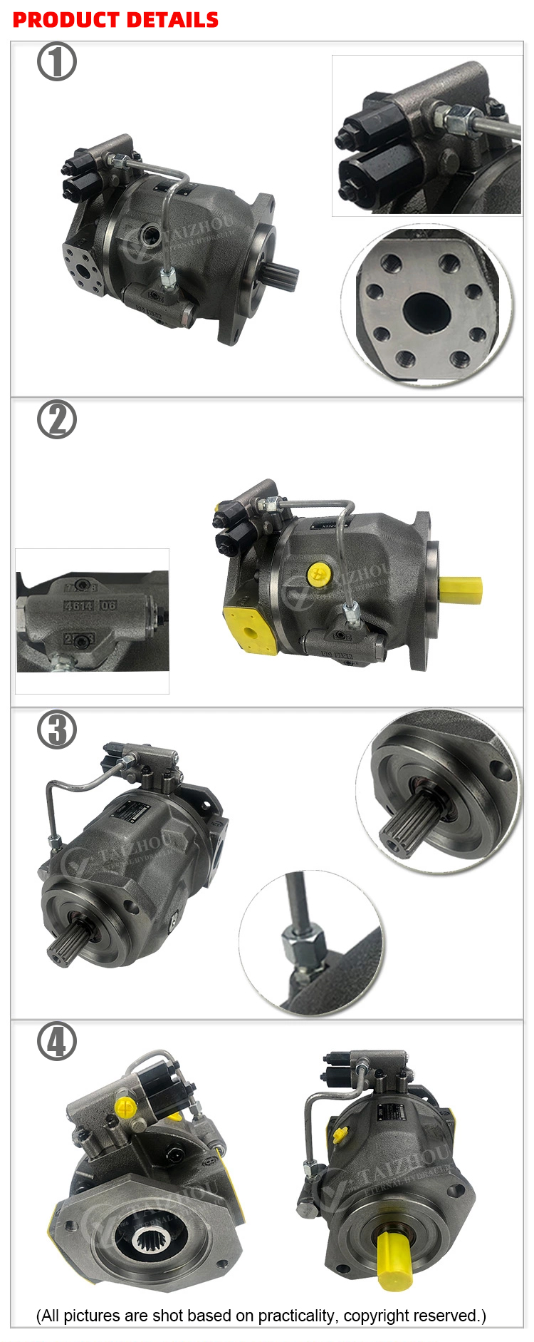 Rexroth A10VSO Pit Tông Bơm, A10V (S) O 45 DR (Drg/DFR) /31R (L)-PP (S; R; U; W) A (C) 12N00 Áp Lực Cao Biến Máy Xúc Piston Bơm