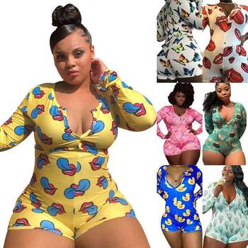 FM-TB5145 Hot selling women adult onesie pajamas long sleeve plus size sexy tights homewear pajamas