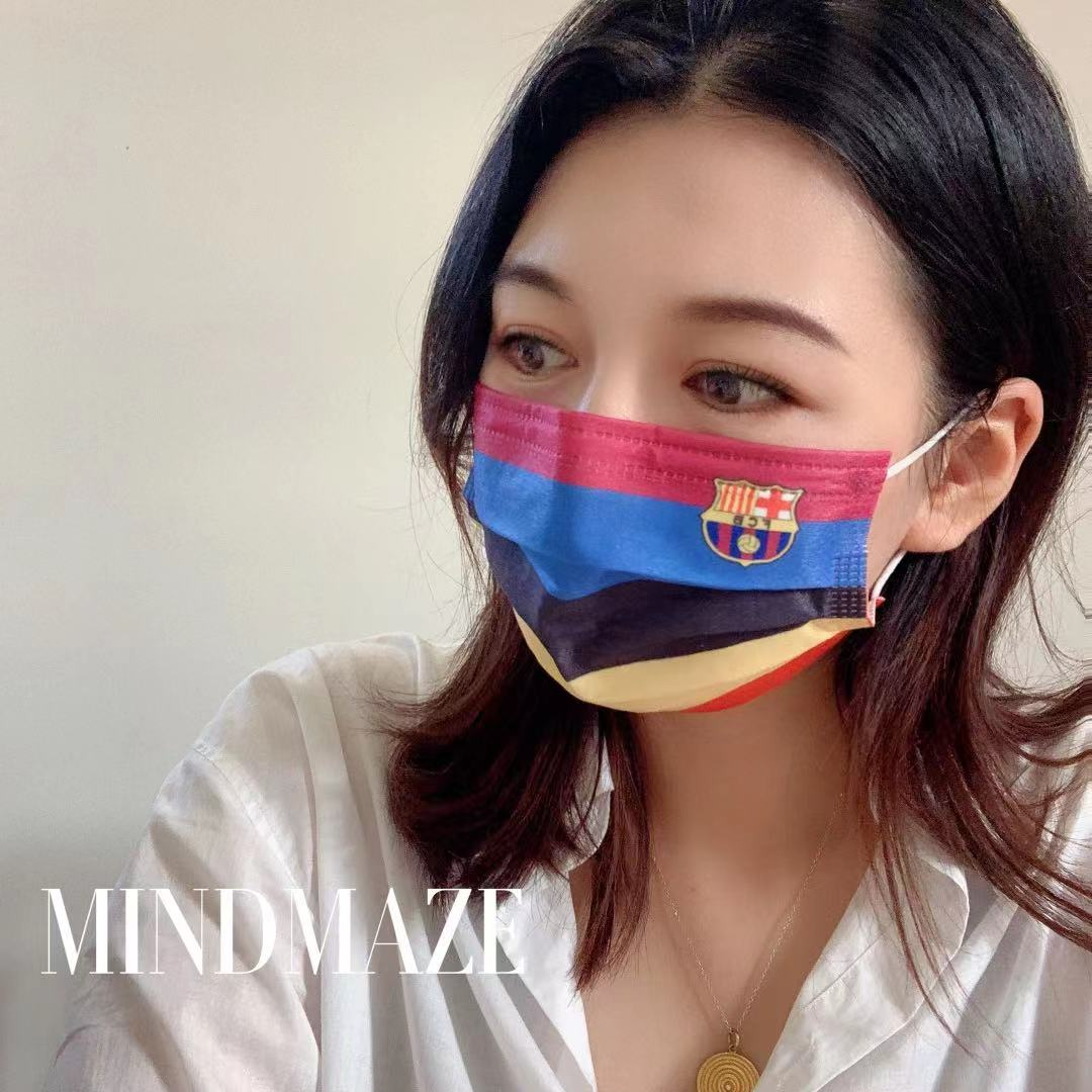 Custom wholesale disposable designer maskes 3 ply Black Certified 3 layer Disposable brand facemask (图3)