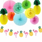 Yachen 5pcs colorful hanging tissue round paper fan for party decoration