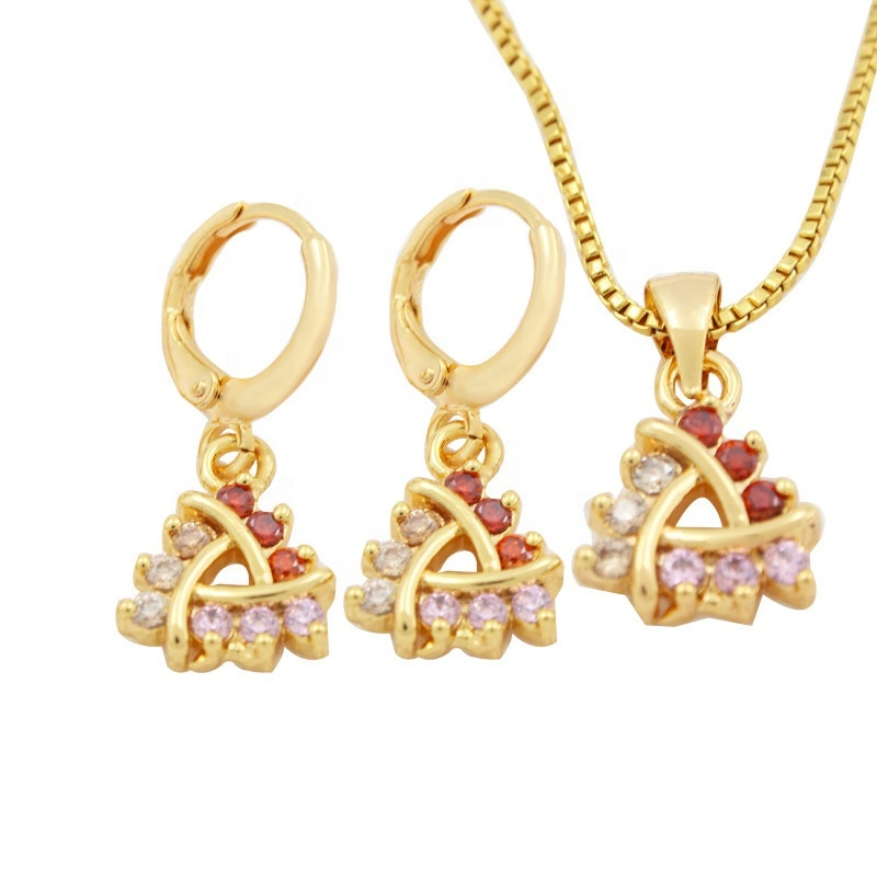 DTINA Elegant Jewelry Sets Fashion Copper Material 18 k Gold Plated Jewelry Set Pendant and Earrings Set