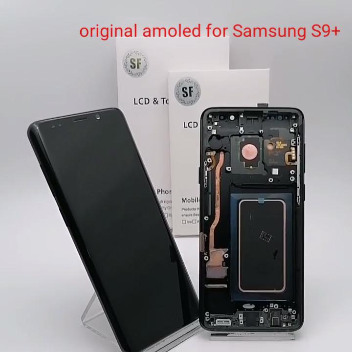 S9 + Asli Super AMOLED Layar untuk Samsung Galaxy S9 Plus SM-G965 G965 LCD Display Touch Screen Digitizer + Bingkai perakitan