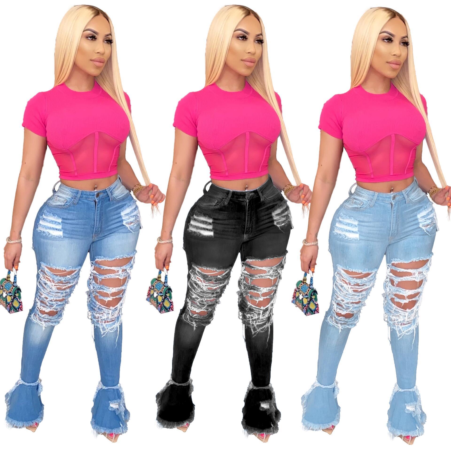 FM-D8354 Streetwear flared trousers S-4XL plus size Ripped horn bell bottom denim pants jeans women