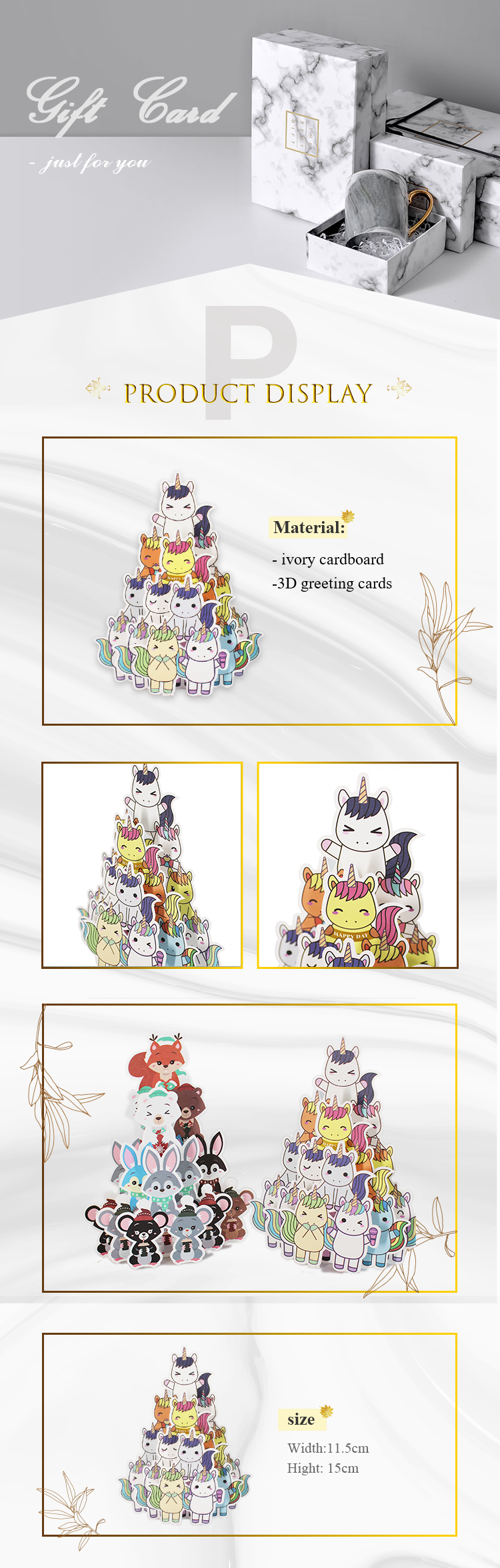 KP custom Cute Animals Gift Party Birthday unicorn owl pop up card 3d pop up cards