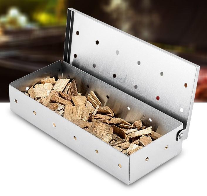 Outils de BARBECUE En Plein Air En Acier Inoxydable Copeaux De Bois Fumigation Boîte avec 12 Trous