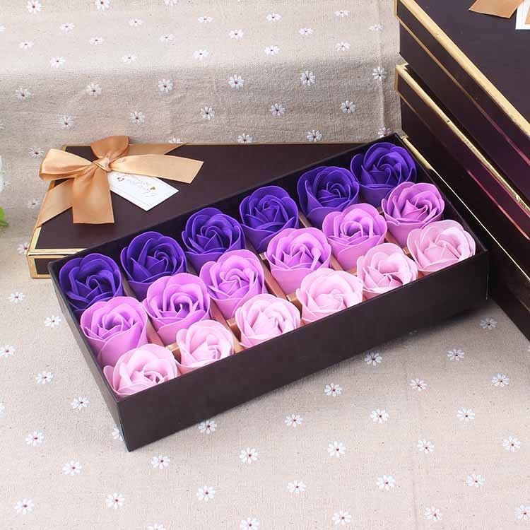 Promotion Bath Flower Soap Rose Floral Scented Soap Flower Petals Bath Soap in Gift Box for Holidays