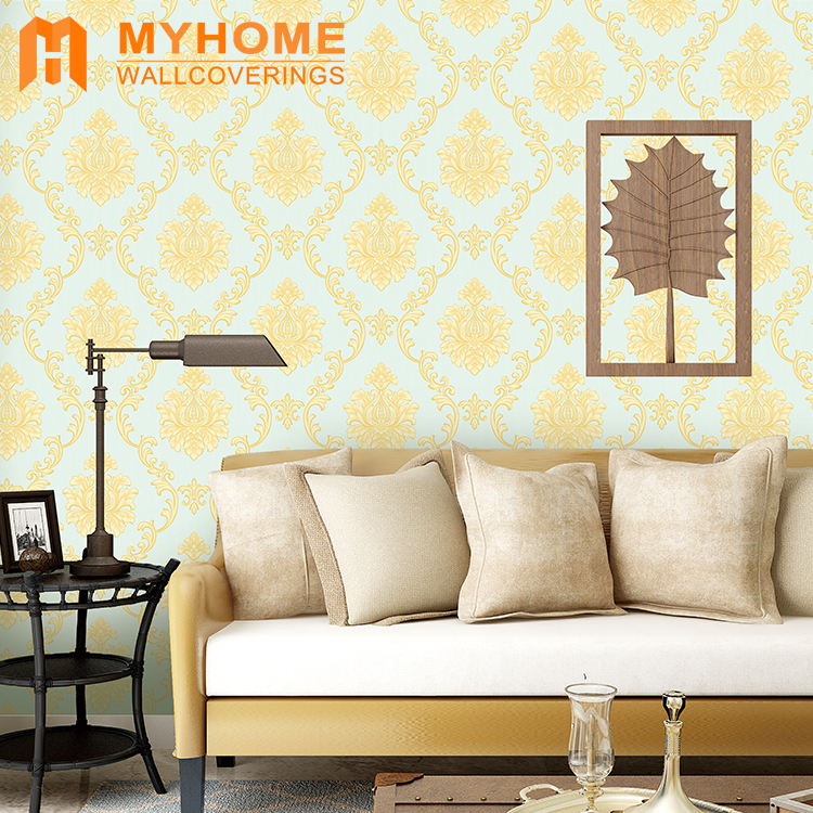 A47-10P26Luxury Damask Flower PVC Wallpaper for Home Decoration