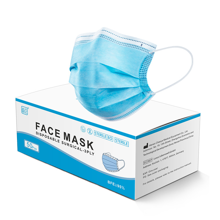factory price disposable face mask 3 plys non woven ISO certificate more than 98.7% medical surgical mask