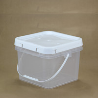 8L Liter Thickened White transparent Square Plastic Bucket Container Food Grade