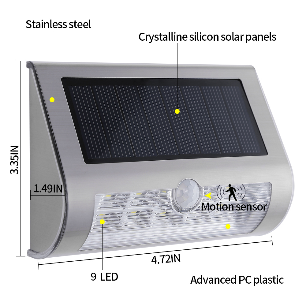 9 LED Outdoor Waterproof Solar Light With Motion Activated