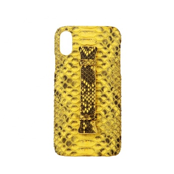 Custom genuine python leather case for i phone x with handle