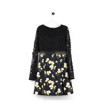 Pretty Steps 2019 High Quality Black Sexy Hollow-out Lace Sleeves Elegant Floral Printed Skirt Dress For Mature Women