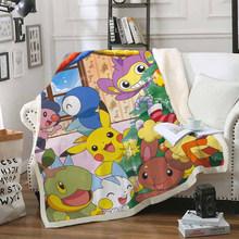 Одеяло с забавным персонажем Покемон Пикачу, 3D принт, шерпа, одеяло на кровать, домашний текстиль, стиль мечты 04(Китай)