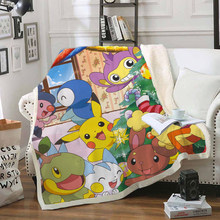 Одеяло с забавным персонажем Покемон Пикачу, 3D принт, шерпа, одеяло на кровать, домашний текстиль, стиль мечты 06(Китай)