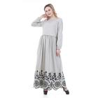 China Wholesale Grey Embroidery Arabic India Girls Beautiful Casual Islamic Gown Muslim Dress
