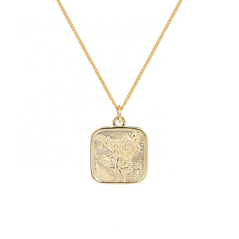 925 Sterling Silver Gold plated 스퀘어 (times square) Golden Rose Necklace A1424