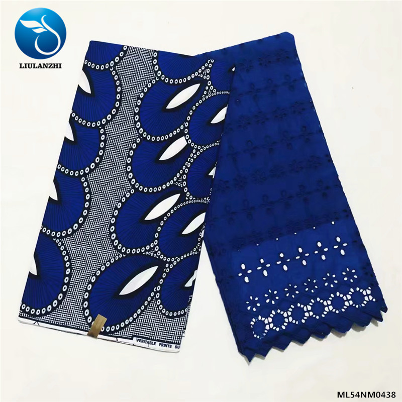 Beautifical eyelet seiss fabric ankara with dry lace lace style wax set ML54NM0436-ML54NM0460