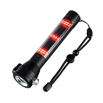 IHUAlite Solar Rechargeable Portable Handheld 10W CREE T6 XML LED Aluminum Window Breaker Tactical Solar Flashlight