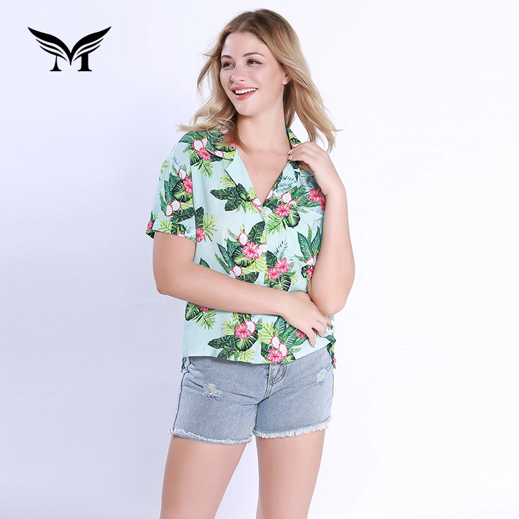 Made in China nach maß phantasie floral sommer frauen bluse designs