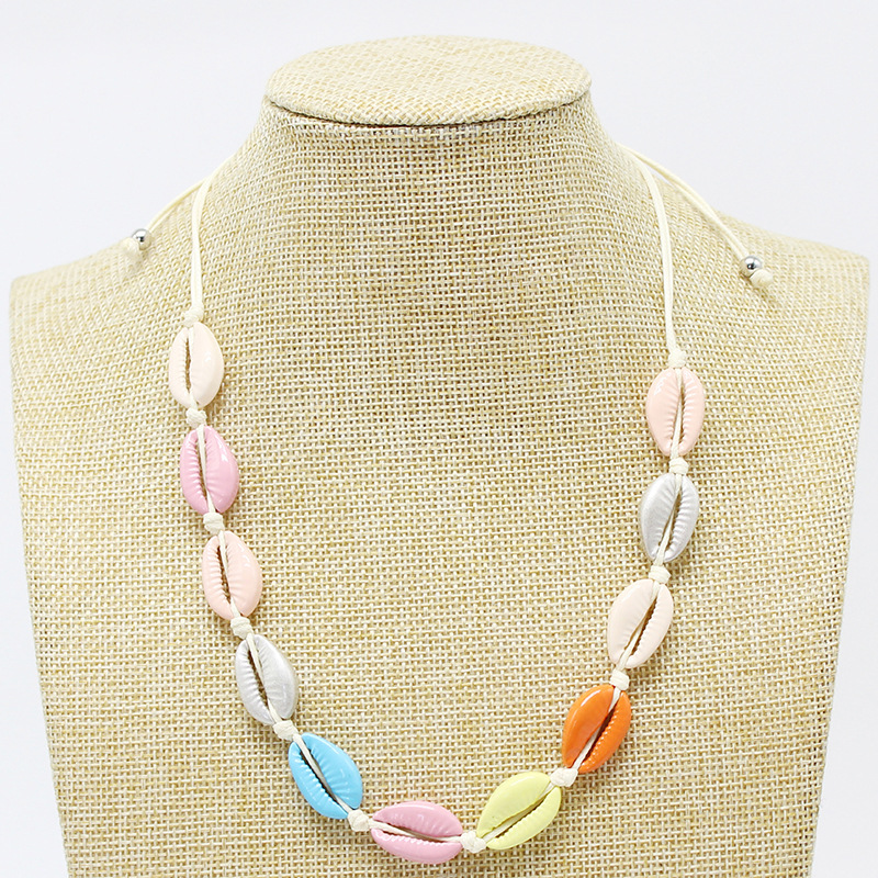 European Hotsale Adjustable Colorful Braided Rope Spray Color Multi Color Bohemian Shell Clavicle Necklaces For Holiday