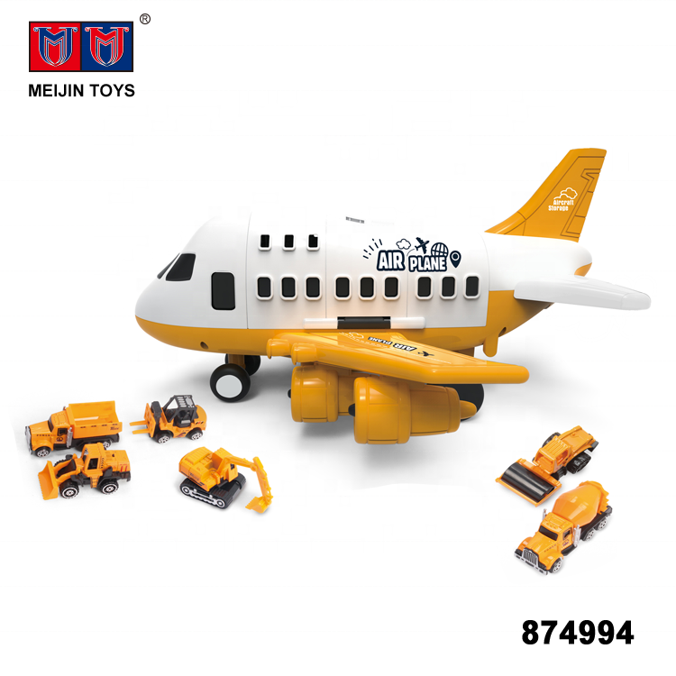 funny track diy friction engineering airplane plastic toy with alloy 6 car