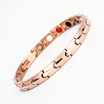 Aimeishi high quality no minimum order stainless steel rose gold plating energy hematite magnetic bracelet