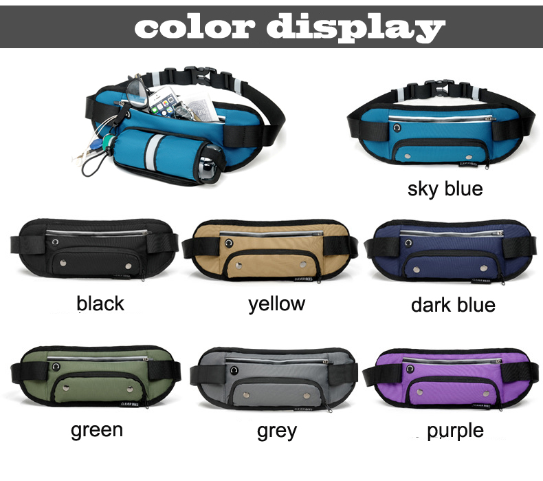 Sports Waist Packs Wholesales Multi-Function Front Zipper Pockets for Bottle Bum Bag Outdoor Running Hiking Waist Bag