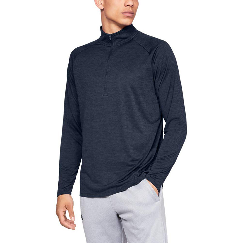 High Quality Bulk Wholesale Mens 1/4 Zip Pullover Top Heather Color Block Hoodie