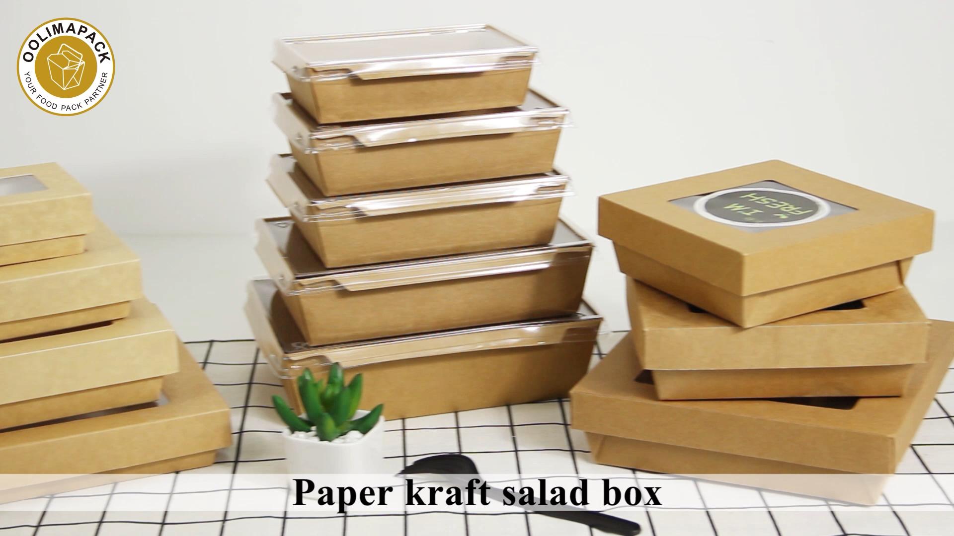 À emporter jetables salade boîte, emballage alimentaire boîtes en carton avec fenêtre, à emporter conteneur