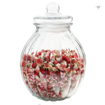 Pumpkin-shaped 90oz / 2350ml glassware airtight glass storage jar cookie jar for food container