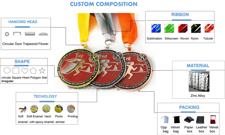 custom metal gold silver bronze metal sports medal for sale