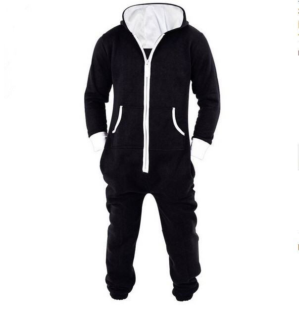 8917 Men Fleece Rompers Zip Up Hoodie Pajamas Design