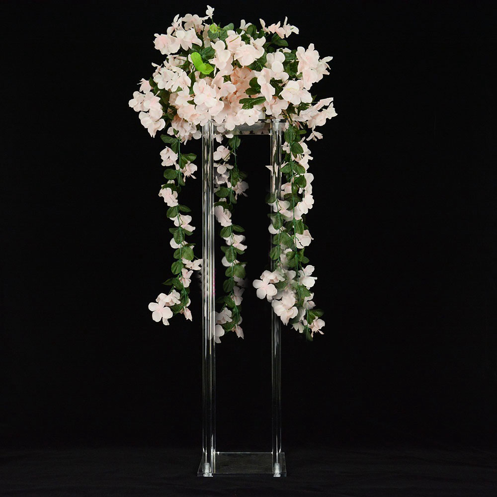 80cm tall transparent decorative flower arrangement clear acrylic flower stand for wedding table centerpiece