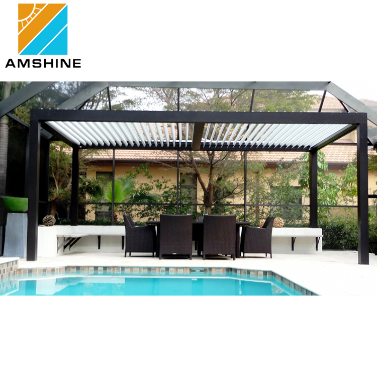 Motorized louvered roof pavilion sun shade electric patio deck awning manufacturers