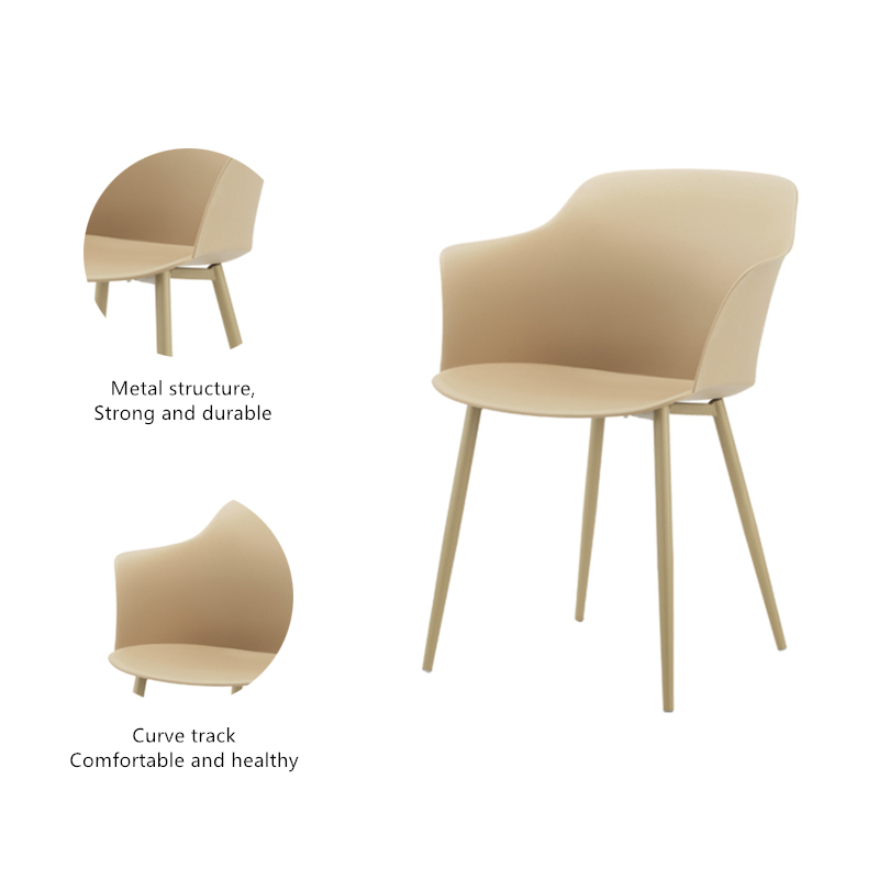China Factory Wholesale  Modern Nordic Design Dining Room Furniture Hot Sales Plastic Design Armchair  Dining Chair
