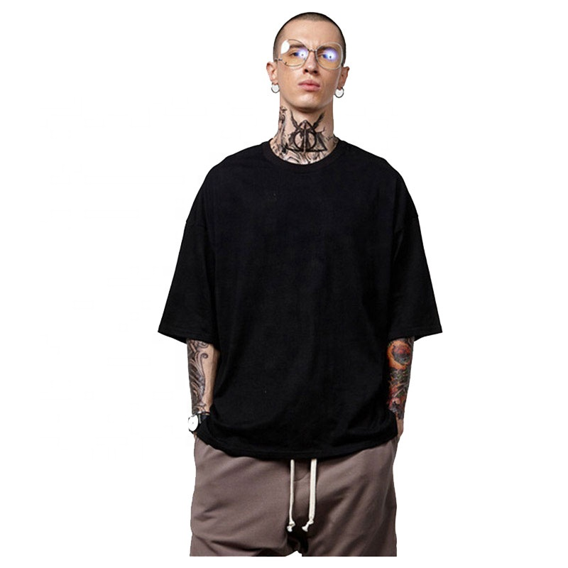 Summer  Hip Hop Fashion Plain Oversized High Street Style Drop Shoulder Customized Mens T Shirts