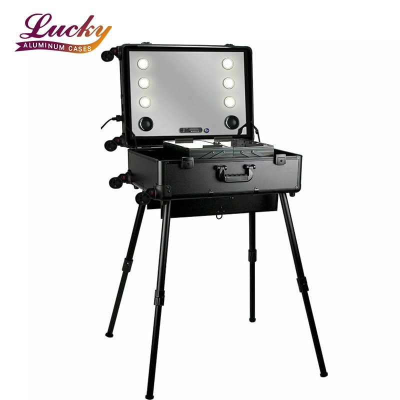 Black Matte Professional Rolling Studio Make-up Fall mit Touchscreen