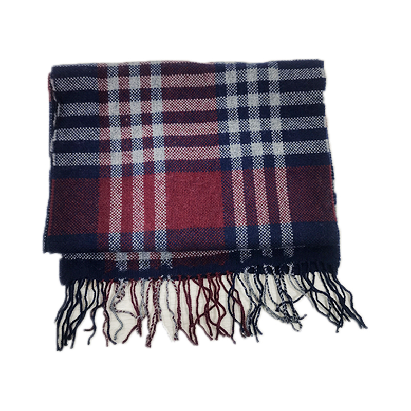 Hot Selling Winter Bordeaux Navy Grid Scarf Soft 100% Wool  Cashmere scarves