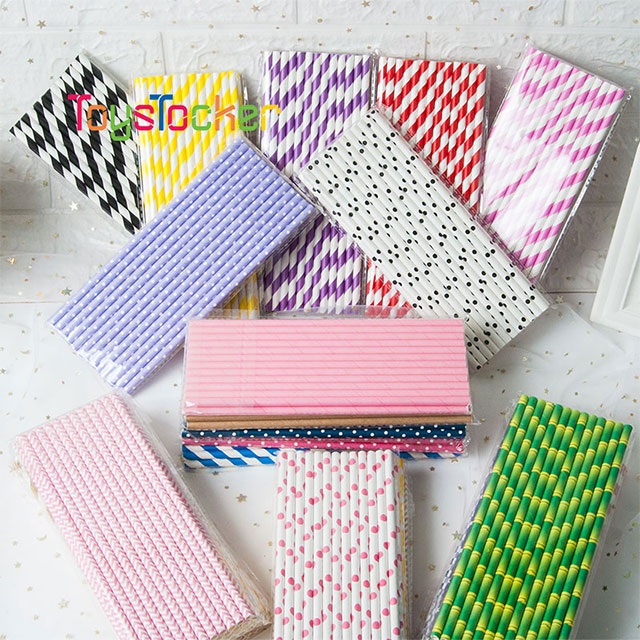 Just Artifacts 25pcs Premium Biodegradable Striped Paper Straws