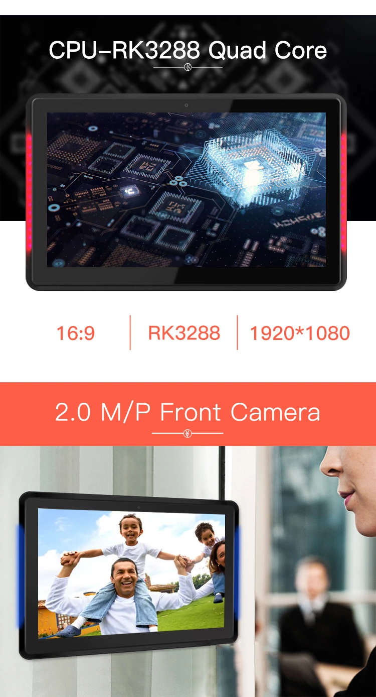 Wifi Tablet 10.1inch Android 8.1 Touch Tablet PC with LED Light bar and NFC and RFID 1080P Android All In One
