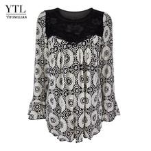 YTL женская элегантная свободная туника большого размера плюс с цветочным принтом для зрелых женщин, рубашка с рукавами, летняя Праздничная ...(Китай)