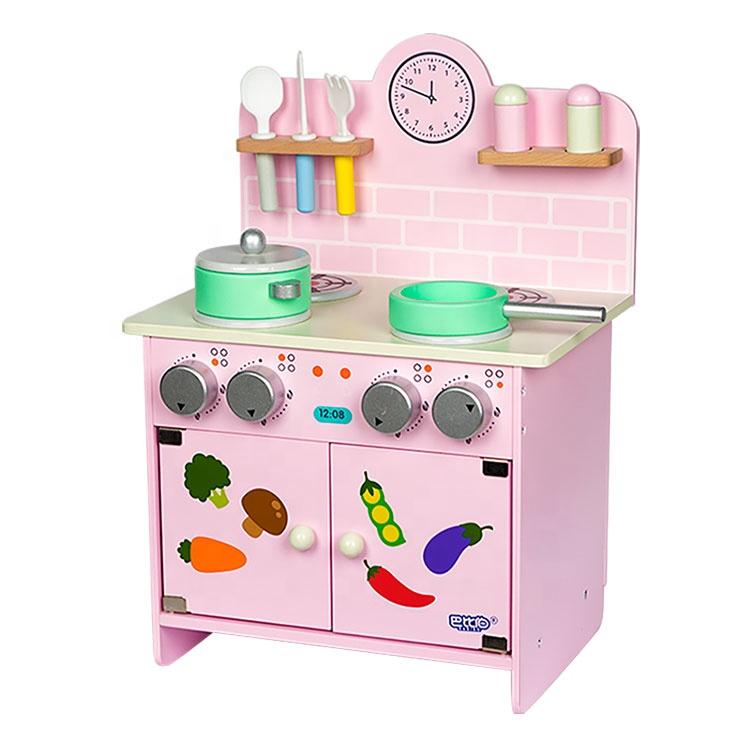 Kid Creative Educational Simulation Cartoon Baby Pink Wooden Kitchen Set Toy
